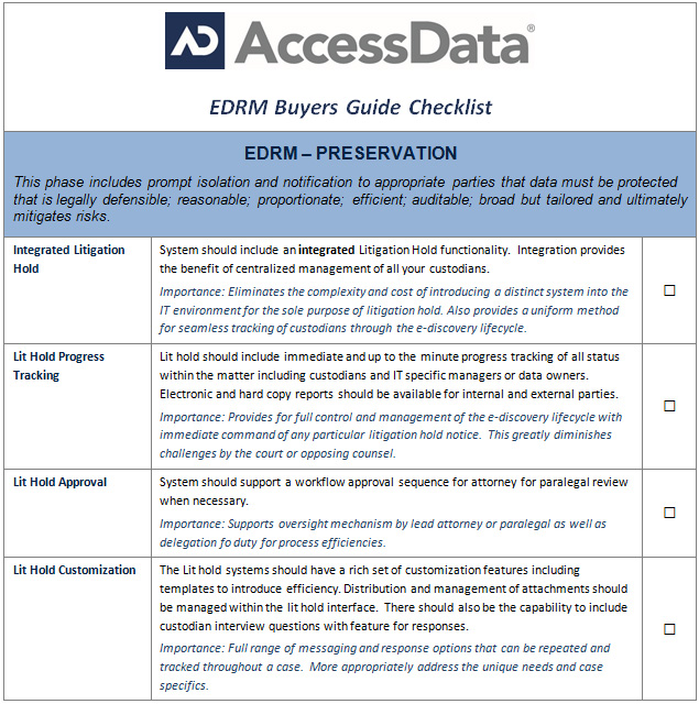 EDRM Buyer's Guide Part IV – Preservation - eDiscovery Insight